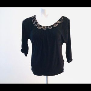 WHBM black ruched waist top with beaded scoop neck